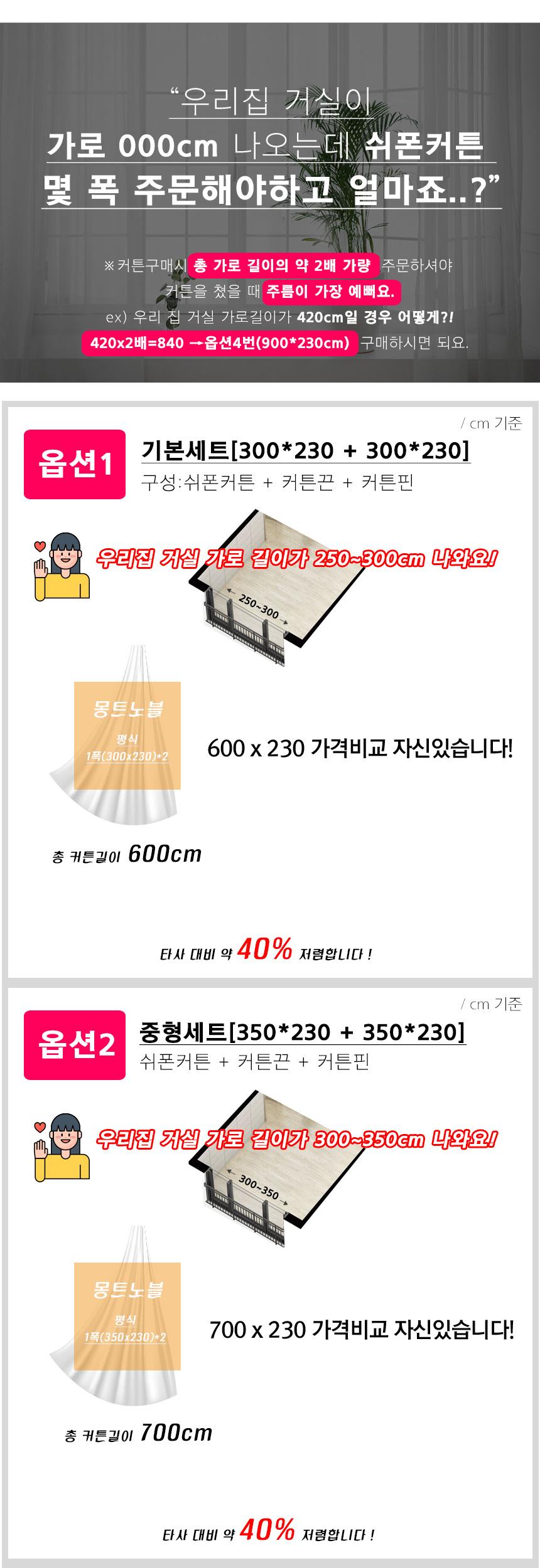 4장 사이즈 실속형 쉬폰 커튼 거실 속지 레이스 커튼 - 몽트노블, 61,490원, 일반커튼, 레이스/속커튼
