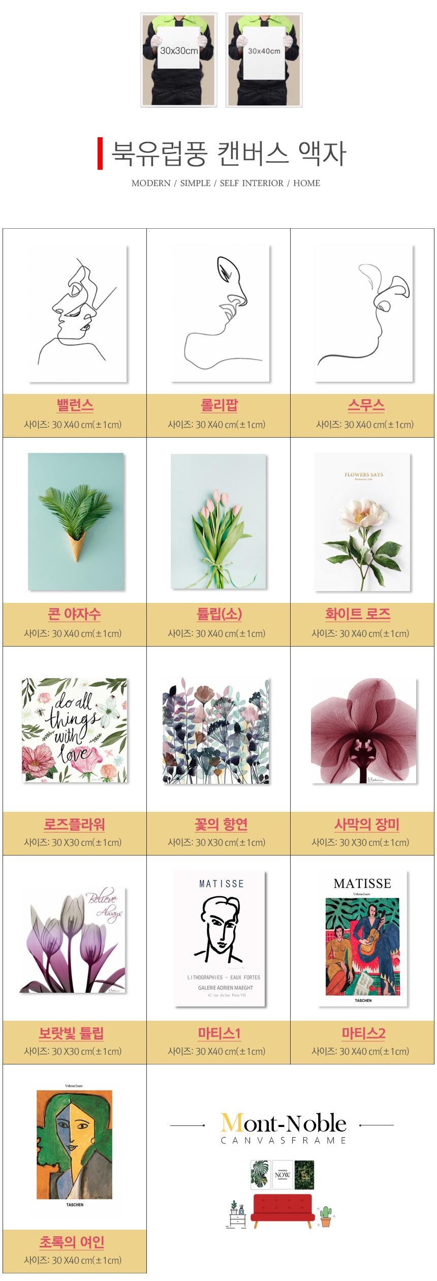 꽃의향연 북유럽 캔버스 그림 인테리어 거실 식물 액자 - 몽트노블, 11,280원, 액자, 벽걸이액자